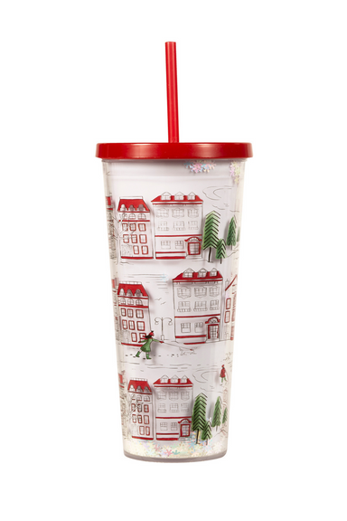 Tumbler With Straw, Holiday Toile (MH)