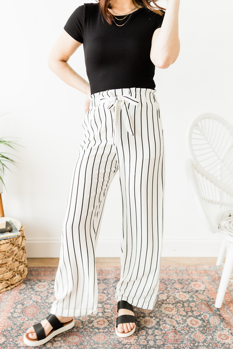 Stripe Splash Pocket Pant - White