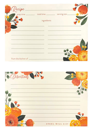 Recipe Cards, Orange Floral