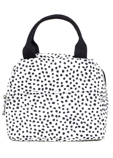 Small Lunch Tote, Black Dots