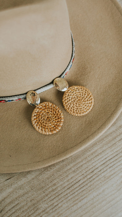 Rattan Disc & Oval Earrings - Brown