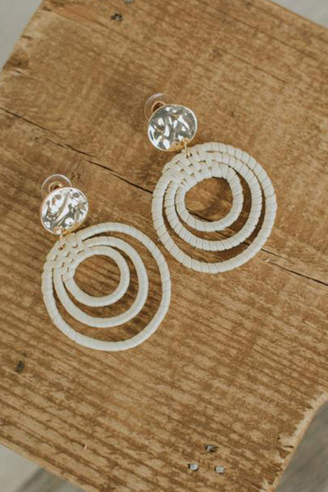 Rattan Multi Circle & Disc Earrings - Ivory