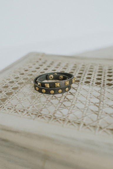 Copper Studded Leather Cuff - Black