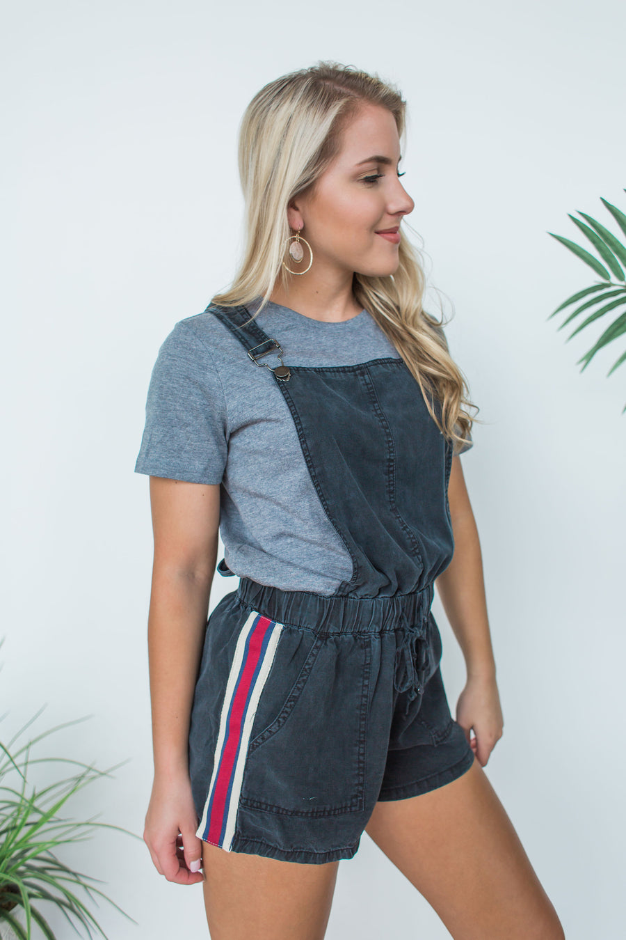 Tencel Overall w/ Striped Taping - Navy