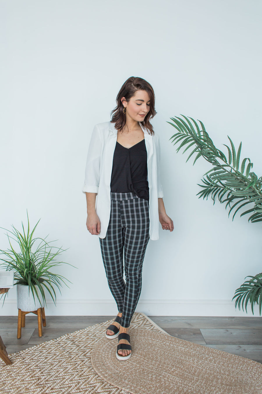 Plaid Pull On Pants - Black Combo