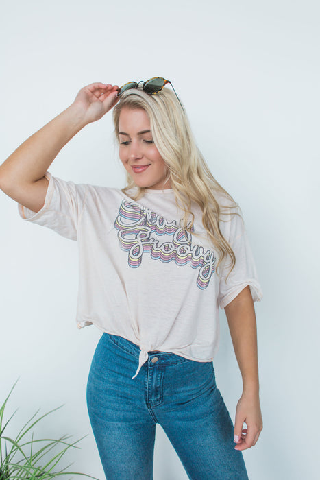 Stay Groovy Graphic Tee - Vintage Ivory