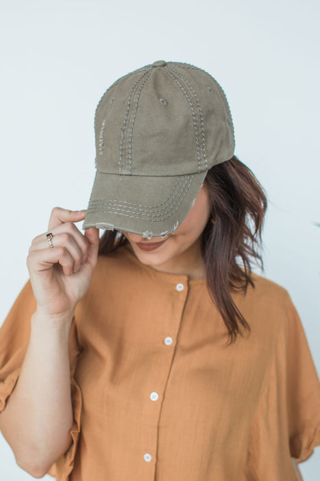 Distressed Cap - Olive