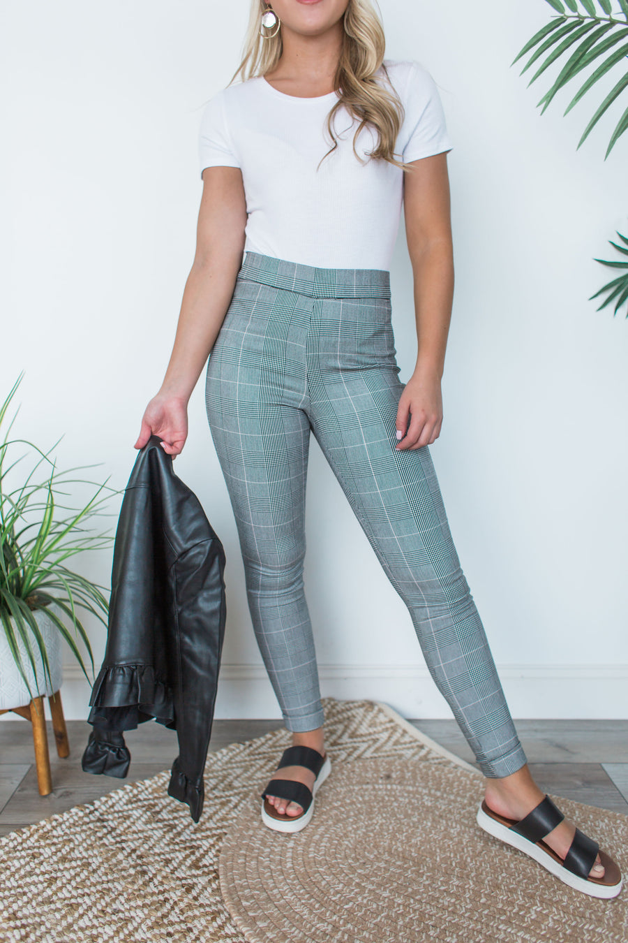 Plaid Pull On Pants - Blush Combo
