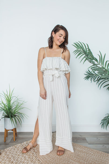 Striped Linen Jumper - Ivory & Taupe