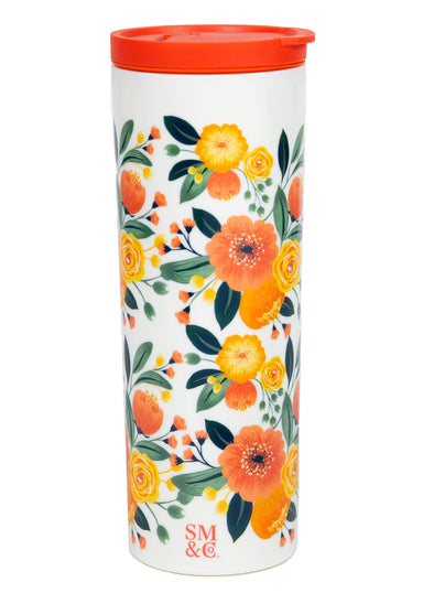 Thermal Mug, Orange Floral