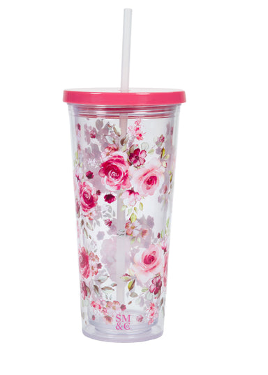 Tumbler with Straw, Pink Rose