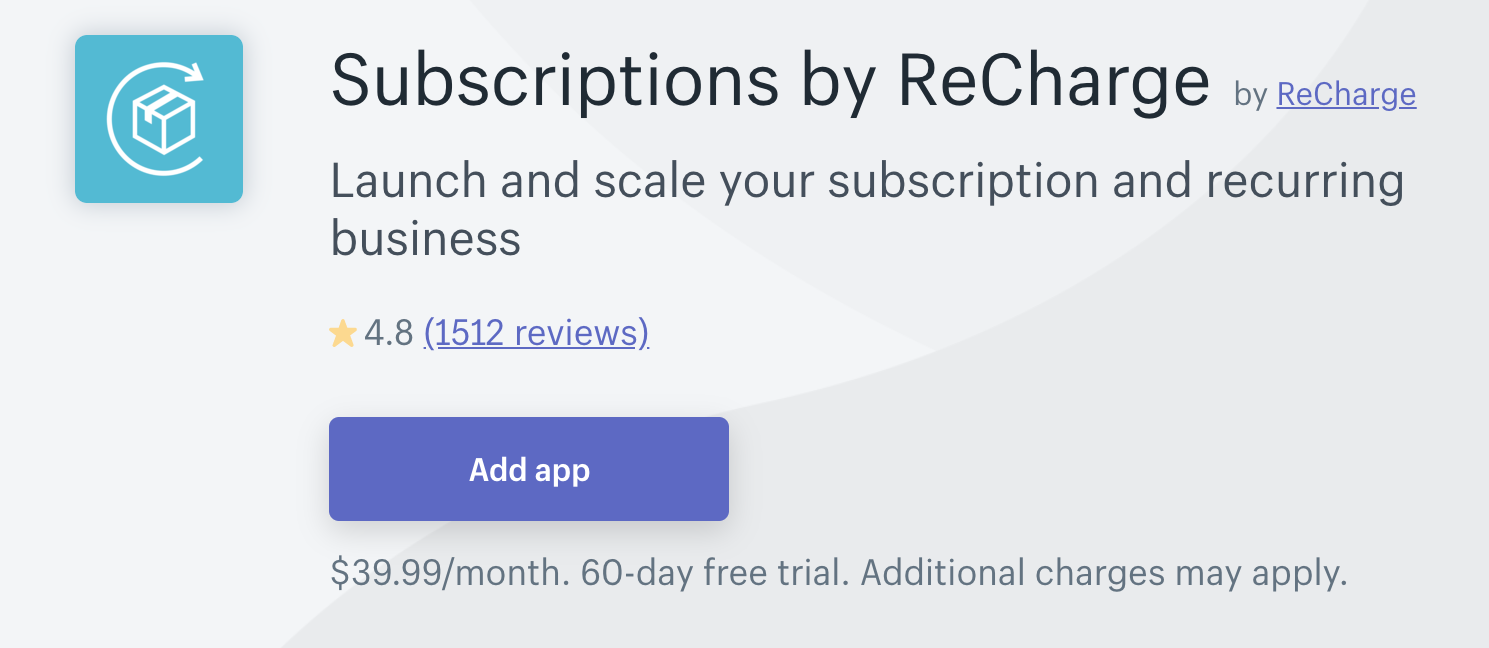 Subscriptions by ReCharge(Shopify定期購入アプリ)