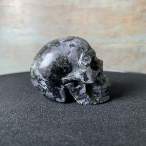 healing crystal indigo gabbro carved skull right side view