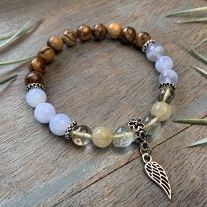 Golden Rutilated Quartz, Blue Lace Agate and Aqarwood Bracelet