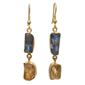"""Blue Over Yellow Drops."" Women's Earrings Natural Gemstones. Offered by Elite Web Store."