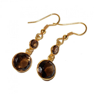 """Double The Smoke."" Drop Earrings 4 Smokey Quartz Natural Gemstones. Offered by Elite Web Store."