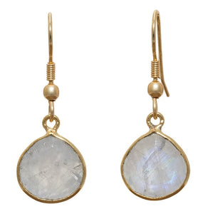 """Rainbow Moonstone Earrings"" Gold Plated Setting. Offered by Elite Web Store."