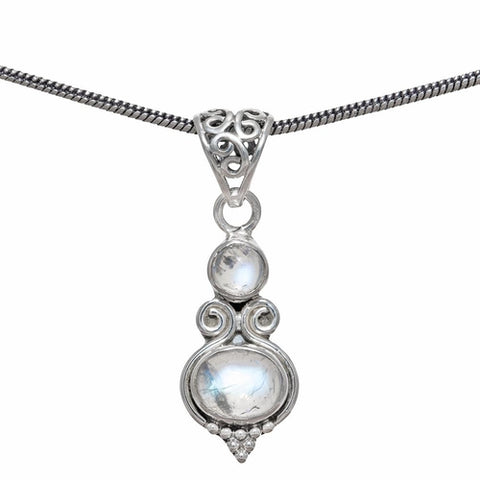 """The Sterling Silver Rainbow Moonstone Necklace."" Natural Gemstones. Offered by Elite Web Store."