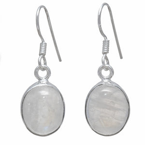 """Rainbow Moonstone Earrings."" Sterling Silver Setting.  Offered by Elite Web Store."