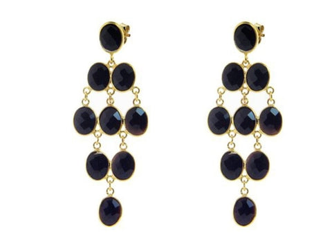 """Onyx Chandeliers."" Natural Gemstone Black Onyx Earrings.  Offered by Elite Web Store."