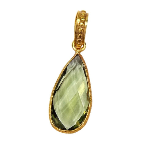 """The Created Green Amethyst Necklace."" 18"" Gold Plated Chain. Offered by Elite Web Store."