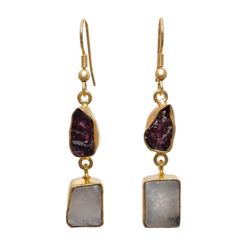 """ The Garnet & Rainbow Moonstone Drops."" Women's Earrings. Offered by Elite Web Store."