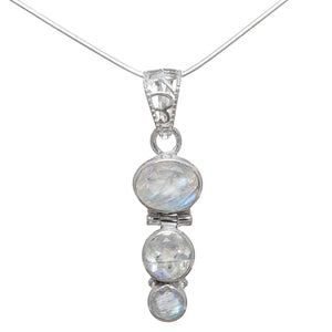 """The Trio Sterling Silver Rainbow Moonstone Necklace."" Natural Gemstone. Offered by Elite Web Store."