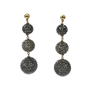 """Cascading Black Spheres. Stunning Sparkling Earrings.  Offered by Elite Web Store."