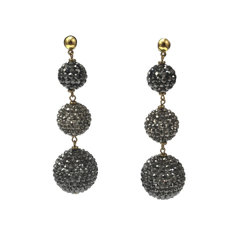 """Cascading Black Spheres."" Women's Earrings 3 Vertically Dropping Spheres. Offered by Elite Web Store."