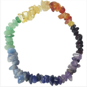 """The 7 Chakra Stone Bracelet."" Genuine Gemstones Chip Design. Offered by Elite Web Store."