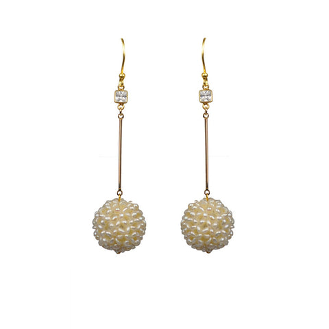 """Freshwater Drops."" Earrings White Topaz & Freshwater Pearls.  Offered by Elite Web Store."