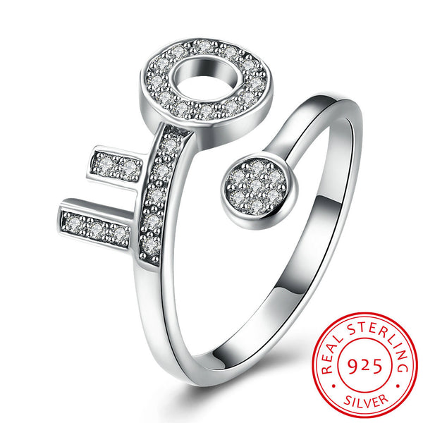 """The Key."" Women's Stamped 925 Sterling Silver Ring, Pave Setting CZ's. Offered by Elite Web Store."
