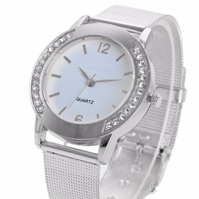 Women's Crystal Silver Steel Analog Wrist Watch.  Offered by Elite Web Store.