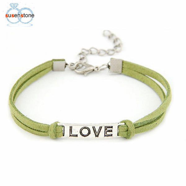 "Braided Adjustable Leather Bracelet with ""LOVE"" Charm. Offered by Elite Web Store."