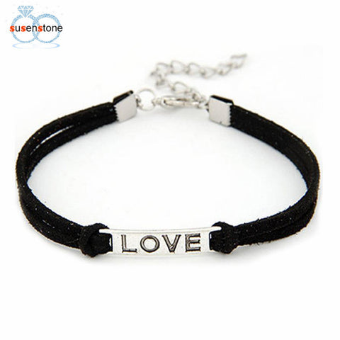 "SUSPENSION BRAIDED ADJUSTABLE LEATHER BRACELET WITH ALLOY ""LOVE"" CHARM"