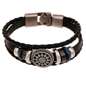 Multi-Layered Leather Bracelet with Charm & Beads. Very Unique.