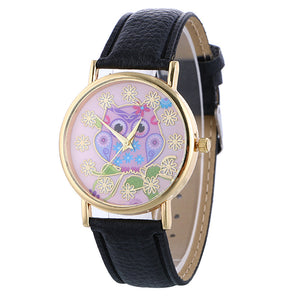 """The Traditional Single Band Wrist Watch with an Owl Face Motif."" Offered by Elite Web Store."