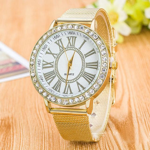 Elegant Watch With Golden Colored Stainless Steel Alloy Single Band. Offered by Elite Web Store.