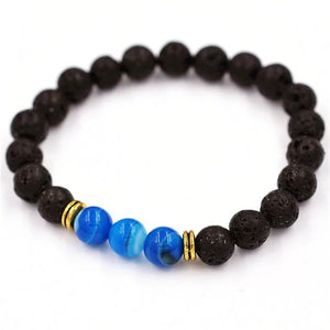 Tibetan Charm Bracelet, Mostly Black with 3 Colors in the Center - 5 Color Choices.