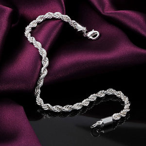 "Women's Sterling Silver Plated Wrapped  ""Clavicle"" Chain Bracelet. 20 CM Length."