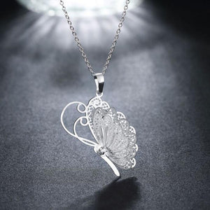 Butterfly Dangling Pendant Chain Silver Necklace. Lot's of Folks Love it.