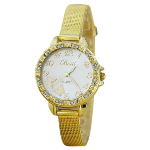 """Golden Butterfly Motifs Watch."" Single Golden Wrist Band.  Offered by Elite Web Store."
