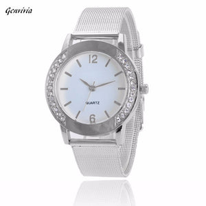 """The Designer Classic."" Women's Crystal Silver Steel Analog Wrist Watch.  Offered by Elite Web Store."