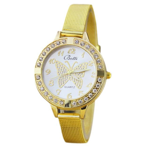 """The Centered Butterfly Motif Watch."" Single Golden Band, Alloy, Quartz. Offered by Elite Web Store."