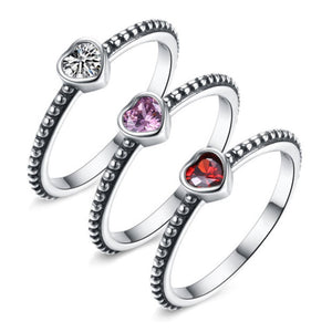 """3 Ladies Dancing."" Women's Rings 3 CZ Stone Color Options. Offered by Elite Web Store."