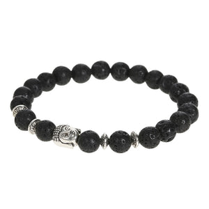 Unique & Natural Stone Bead Bracelet with a Silver Buddha Head, & 4 Interspersed Silver Discs.