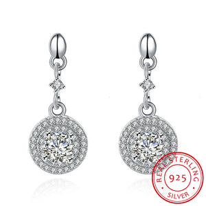 """The Crystal Spheres."" Women's Stamped 925 Sterling Silver Earrings. Offered by Elite Web Store."