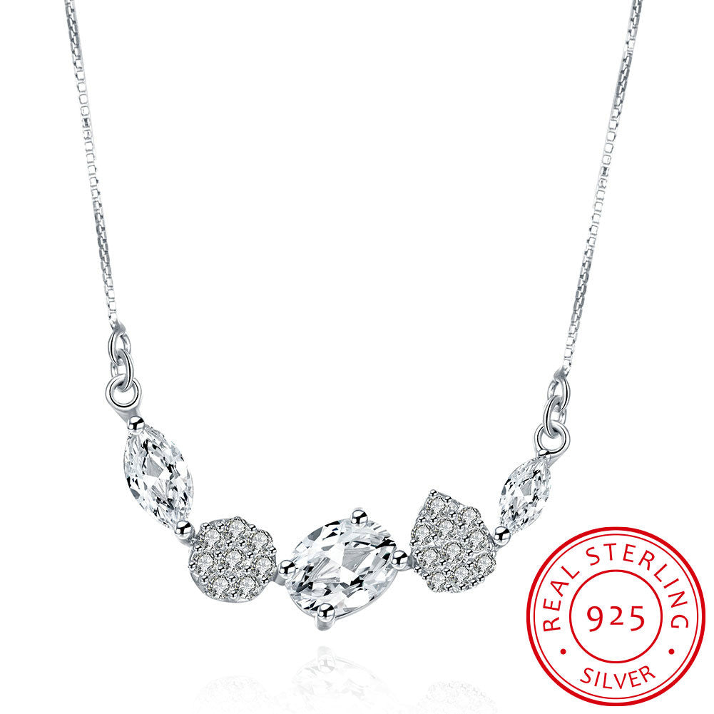 """The Sterling Silver Stone Necklace."" 5 Pendant Stones, Many Extras.  Offered by Elite Web Store."