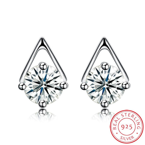 """Sparkling Triangle."" Women's Earrings Stud CZ's Uniquely Set. Offered by Elite Web Store."