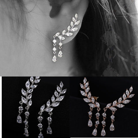 """Ear-Lobe Leaf Wraps."" Women's Sparkling Clear ""Leaf Motif"" Earrings.  Offered by Elite Web Store."